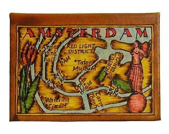 AMSTERDAM - Leather Travel Photo Album - Handmade