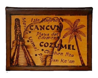 CANCUN and COZUMEL - Leather Travel Scrapbook / Journal - Handcrafted