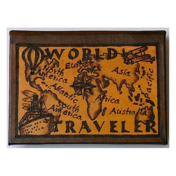 WORLD TRAVELER - Leather Travel Journal / Sketchbook - Handcrafted