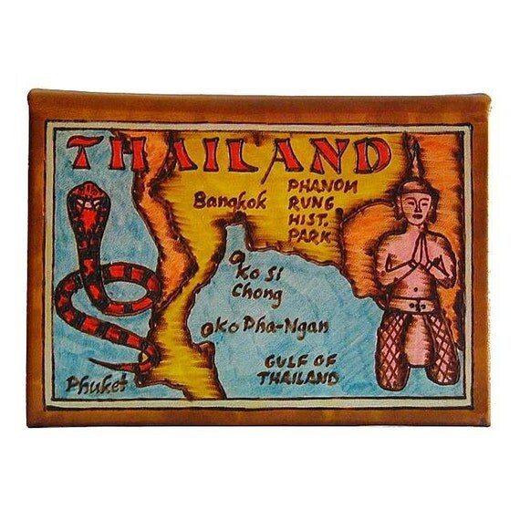 THAILAND - Leather Travel Scrapbook / Journal - Handmade