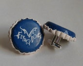 Blue or Black and White Flying Dog Recycled Beer Bottle Cap CUFFLINKS