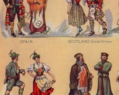1912 Chart of  Costumes of Fifteen Nations Original Antique Color Lithograph