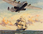 1940 Pan American Clipper Airplane and 1840 Ship Gordan Grant 100 Years to Frame