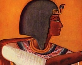 Antique Ancient Egyptian Empire King Siphtah and Book of the Dead Lithograph