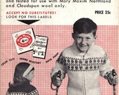 Vintage Mary Maxim Snowflake Snowrena Snowflake Graph Style Cowichan Style Knitting Pattern Children's Cardigan or Pullover sizes 8-10-12