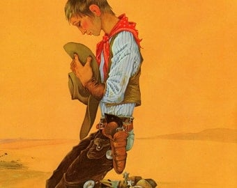 Praying Cowboy Janet and Anne Grahame Johnstone Vintage Illustration