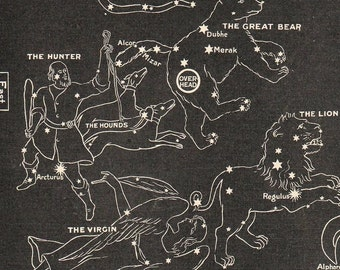 1902  Edwardian Map of the Stars in Spring Leo Virgo The Crow The Great Bear Astonomy Astrology Black and White Print