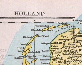 1897 Original Antique Victorian Map of Holland The Netherlands Belgium and Luxembourg Antique Copper Engraving Cartography