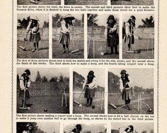 1902 Edwardian How To Play Croquet Photo Instruction Chart