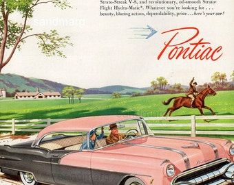 1956 Pink  Pontiac 860 Best Dressed Car Horse Farm Stables Original Print Ad