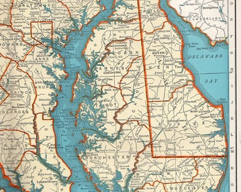 Vintage 1947 Rand McNally Popular Map of Maryland and Delaware