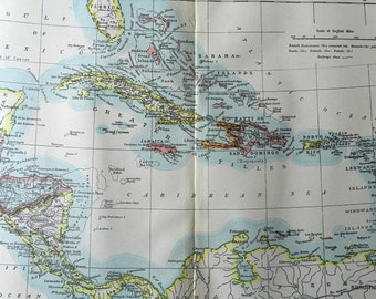 1897 Victorian Antique Color Map of the West Indies Caribbean