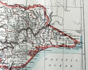 1897 Antique Victorian Color Map of  Victoria Australia