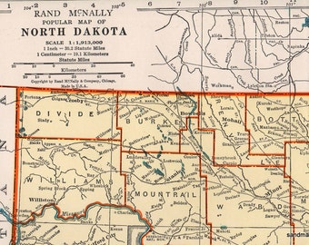 1947 Popular Map of North Dakota Rand McNally