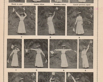 Vintage Chart How to Signal Across a Field Flag Semaphore System