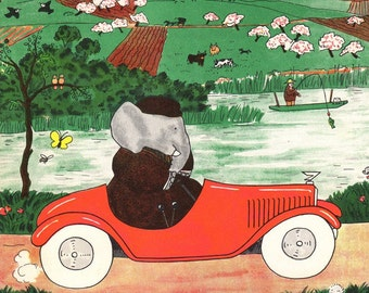 Vintage 1960s The Story of Babar The Little Elephant  Babar Drives the Car Jean de Brunhoff to Frame