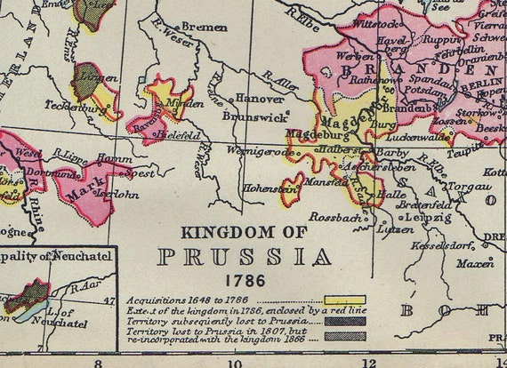 1897 Antique Historical Map of the Kingdom of Prussia in 1786 and 1866