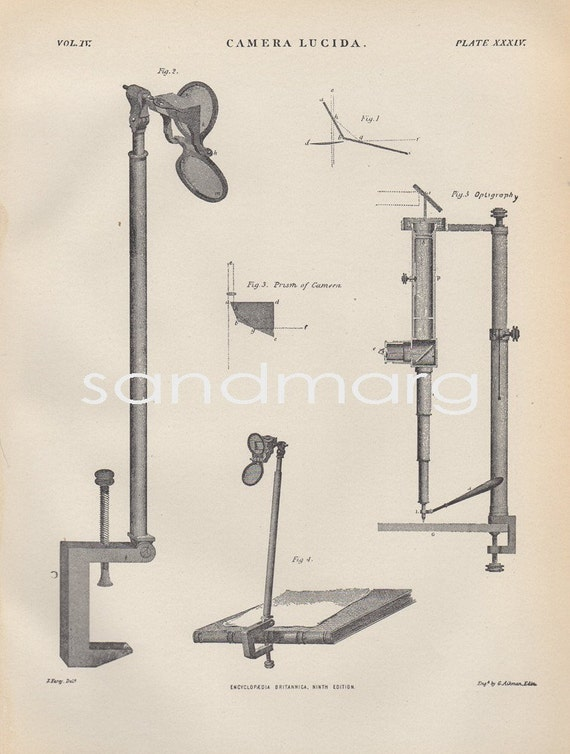 1897 Victorian Steel Engraving Print of the Camera Lucida