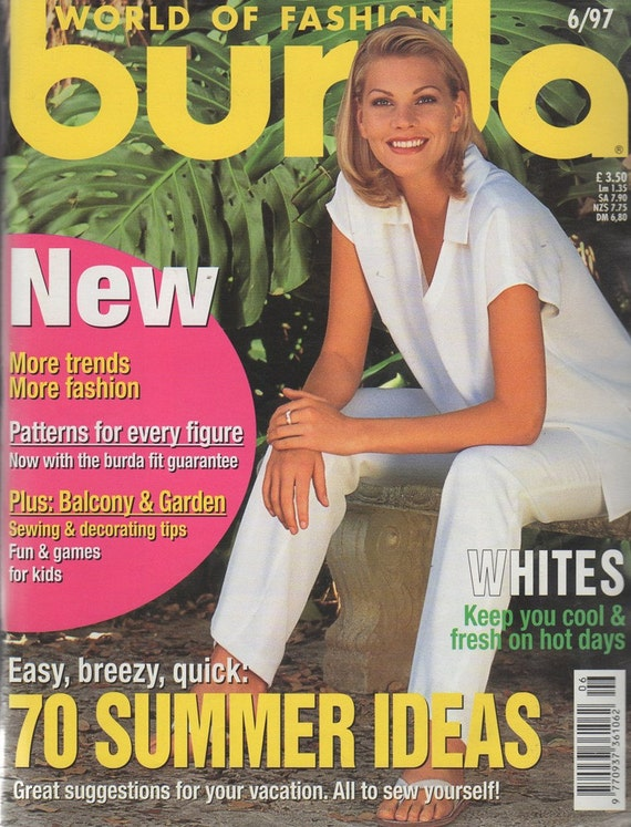 Burda World of Fashion June 1997 Summer Beach Wraps Swimsuit