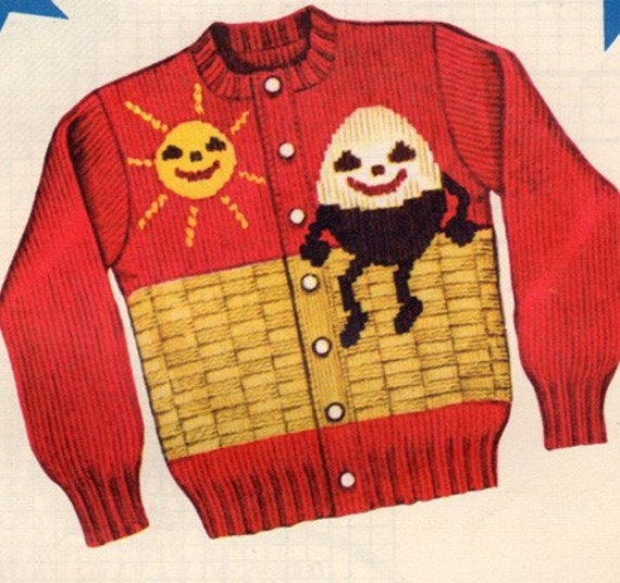 Knitting Pattern For Humpty Dumpty : Vintage 1950s Knit O Graf Humpty Dumpty Sweater by sandmarg