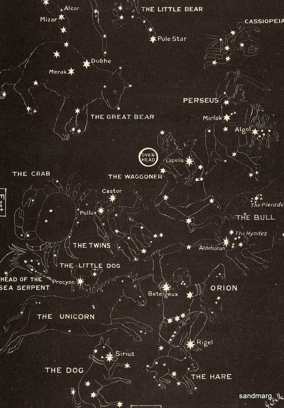 1923 Map of Stars in Autumn and Winter