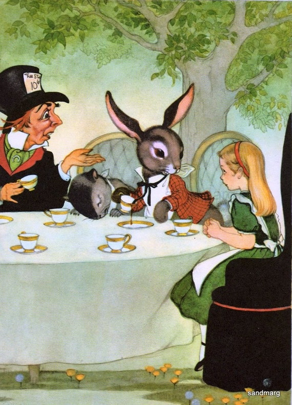 Vintage 1950s  Alice in Wonderland A Mad Tea Party Marjorie Torrey to Frame