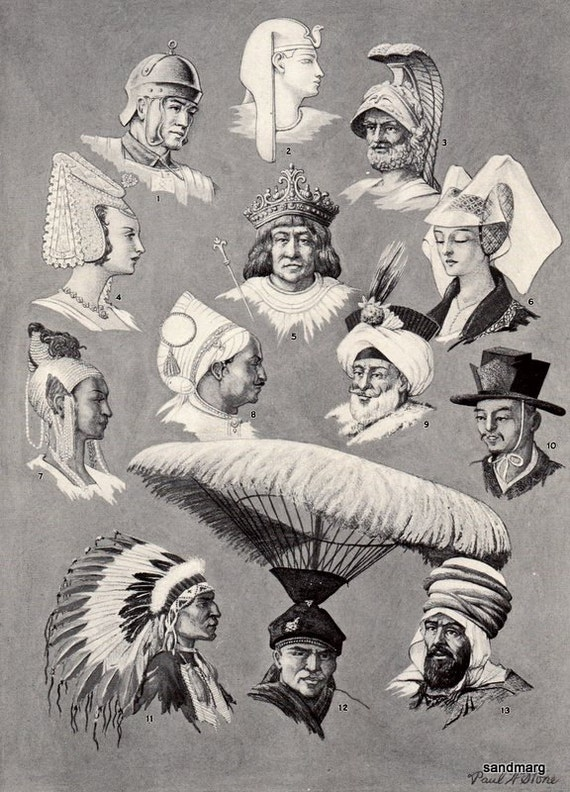 1930 Chart of Hats of Various Nations Historical by Paul H Stone to Frame Book Illustration