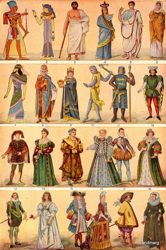 Items Similar To Chart Of Costumes From Egypt To The 17th