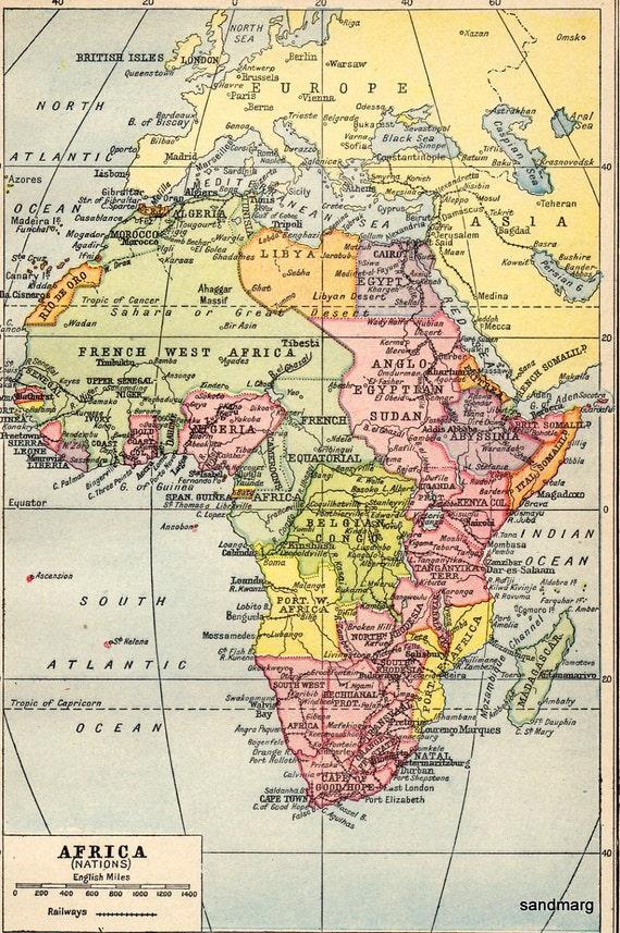 1914 Original Antique Map of Africa