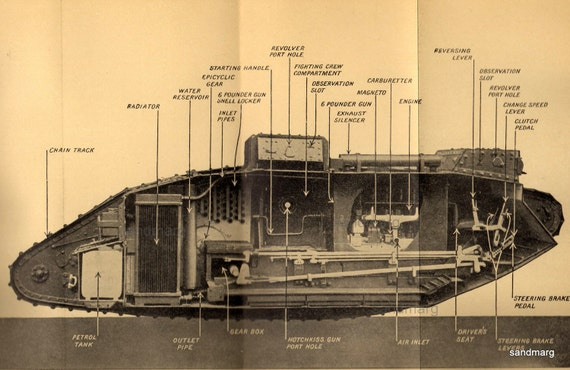 1920 Army Tank Chart Sectional View of British Tank First World War