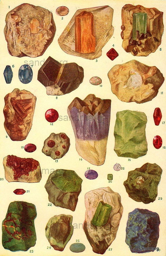 Vintage Chart of Gems Topaz Sapphires Opal Ruby Diamond Emerald