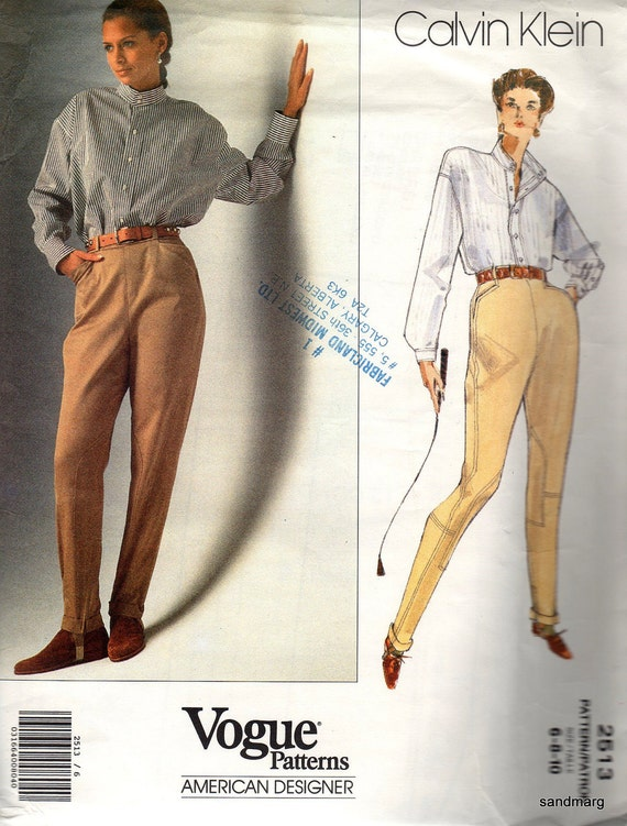 Early 1990s Calvin Klein jodhpurs and shirt pattern - Vogue 2513