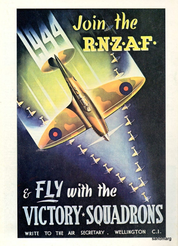 1944 Royal New Zealand Air Force Fly with the Victory Squadrons Poster Reprint