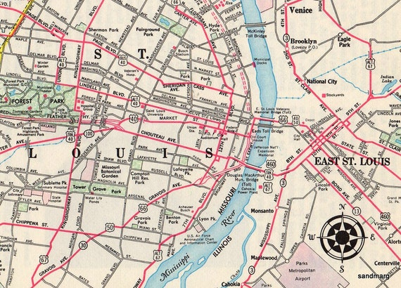 1959 Map of St Louis and Vicinity H M Gousha Co