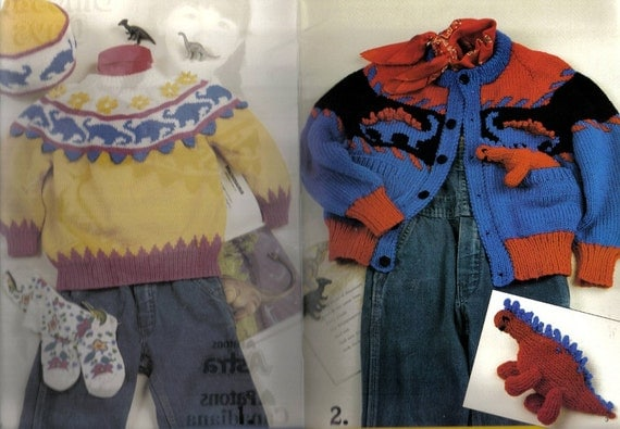 Dinosaur Days Knitting Patterns Sweaters for Boys and Girls
