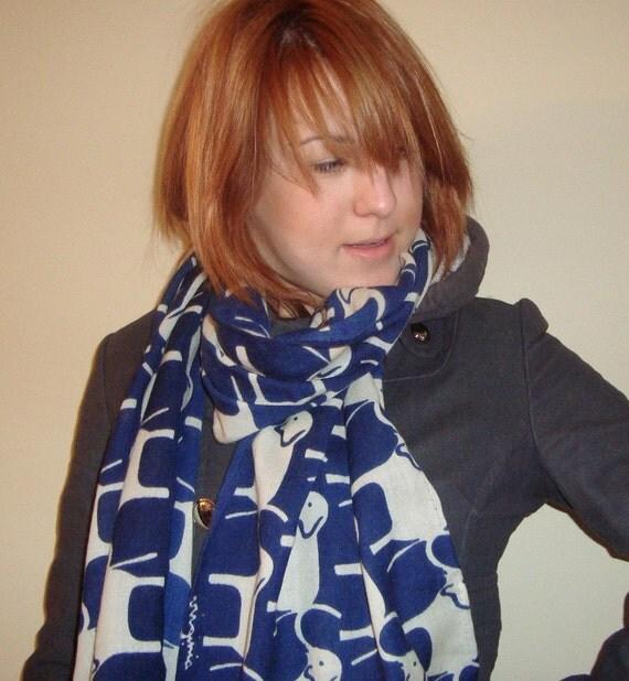 virginia johnson rolled merino wool signature scarf blue