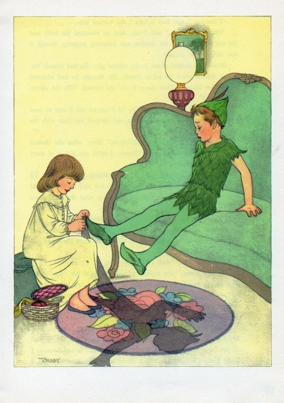 Vintage 1950s  Wendy Sews on Peter Pans Shadow Childrens Book Illustration Marjorie Torrey to Frame