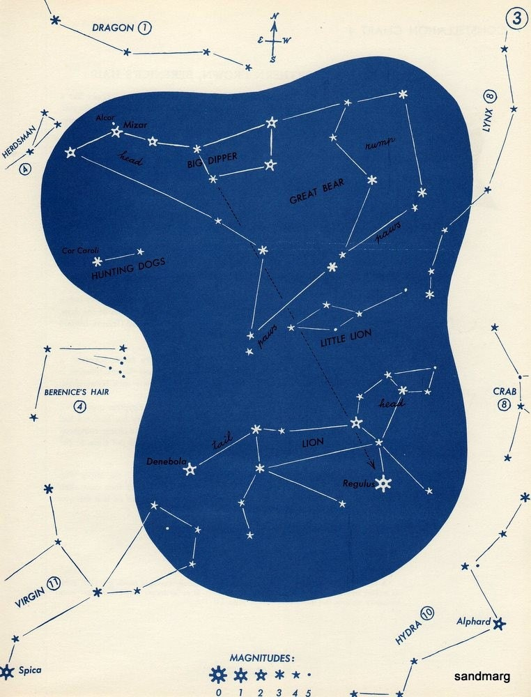 1952 Star Constellation Chart Great Bear Lion Leo Hunting Dogs