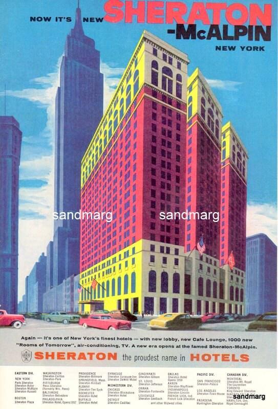 1957 Manhattan Sheraton McAlpin New York Hotel Print By