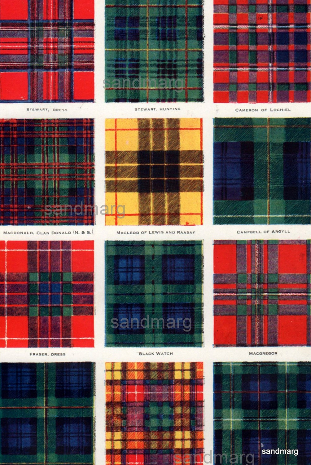 1920 chart of tartans plaids and kilts scottish clans and. Black Bedroom Furniture Sets. Home Design Ideas