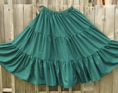 Gypsy Peasant skirt green cotton ATS tribal belly dance skirt and fingless mitts with bracelets ready to ship