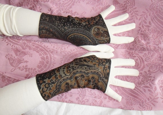 Steampunk fingerless gloves black paisley gold sparkle fingerless mitts Victorian belly dance reversable