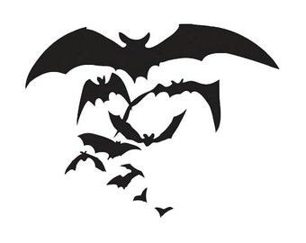 Flying Bats - Spooky Vinyl Decal - Goth Halloween Wall Art