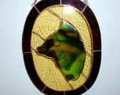 Stained Glass Suncatcher Animal in Green Modern Abstract