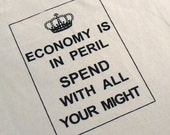 Economy is in Peril Shopping Tote (Natural\/Black)