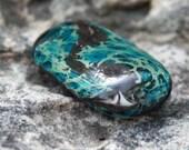Copper Blue Smooshed Lampwork  Rectangular Tab Glass Bead