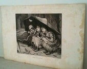 charming antique Photogravure - 3 girls in the April showers