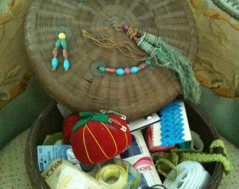vintage chinese SEWING BASKET filled with notions 1920s