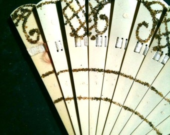victorian FRENCH IVORY celluloid FAN