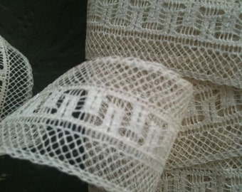 vintage lovely Net Lace -  greek key pattern